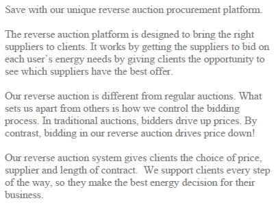 Reverse Energy Auction